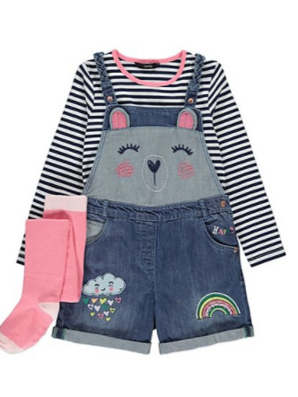 3 Piece Short Dungarees, Top and Tights Set - £14.00!