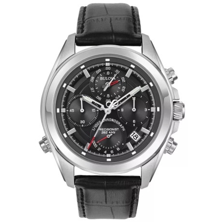 Bulova Precisionist Men's Black Leather Strap Watch - SAVE 50%!