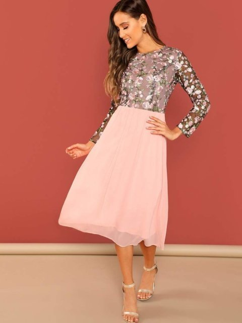 FLOWER EMBROIDERED MESH BODICE DRESS