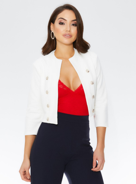 35% OFF this Cream Military Button Crop Jacket!
