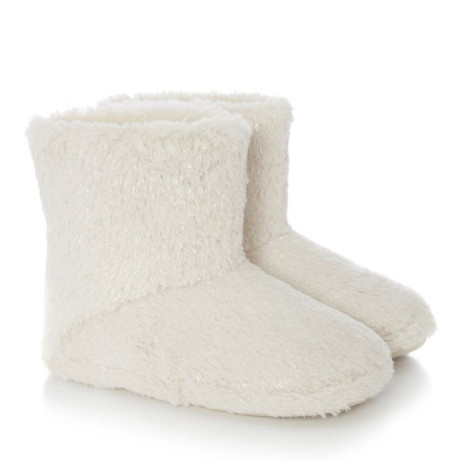 SAVE 70% on these Cream Faux Fur Sparkle Ankle Slipper Boots