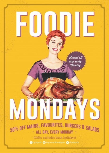 FOODIE MONDAYS - 50% off mains, favorites, burgers & salads!