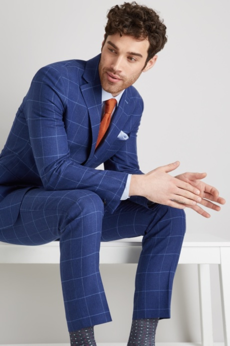 Save 49% on this Moss 1851 Tailored Fit Bright Blue Windowpane Suit