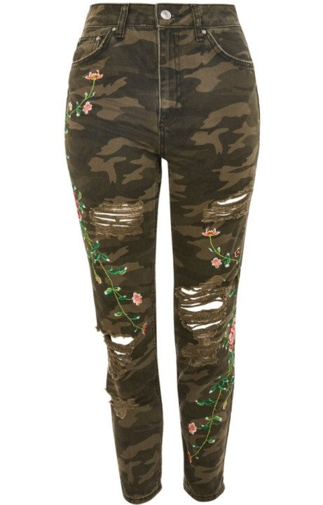 SAVE 49% on these Camouflage Embroidered Mom Jeans!