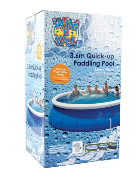 """SAVE 1/3 - Wild n' Wet Quick Up 12' x 30"""" Inflatable Paddling Pool!"""