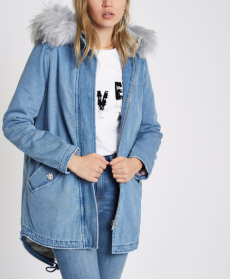 SAVE £35 on this Denim Parka Coat with Faux Fur Lined Hood!