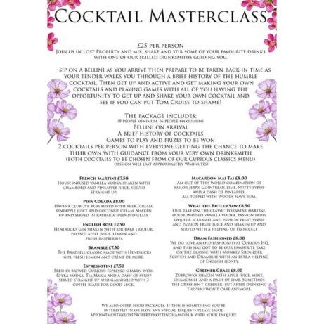 Get a group together and treat yourself to one of our cocktail masterclasses!