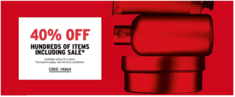 40% OFF Hundreds of items including some sale items!