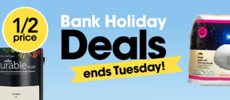 SAVE up to 1/2 Price in the Bank Holiday Sale!