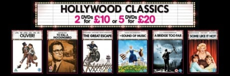 DVDs 2 for £10 or 5 for £20. Blu Ray 5 for £30 with FREE SHIPPING!
