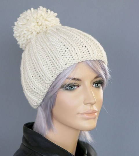 Chunky Knit Bobble Hat in Winter White: £22.00!