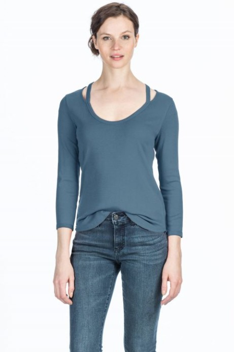 50% off this Lilla P 3/4 Sleeve Split Scoop Neck Top.