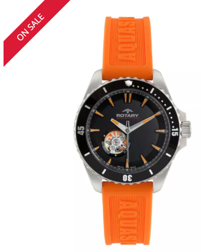 SAVE 50% on this Rotary Aquacore Men's Orange Rubber Strap Watch!