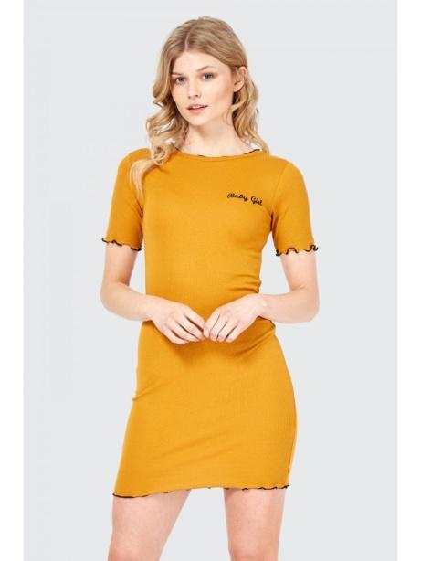20% OFF this BabyGirl Slogan Frill Edge Ribbed Bodycon Dress!