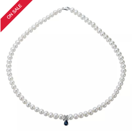 SAVE £50 on this 9ct White Gold Freshwater Pearl, Sapphire & Diamond Necklace!