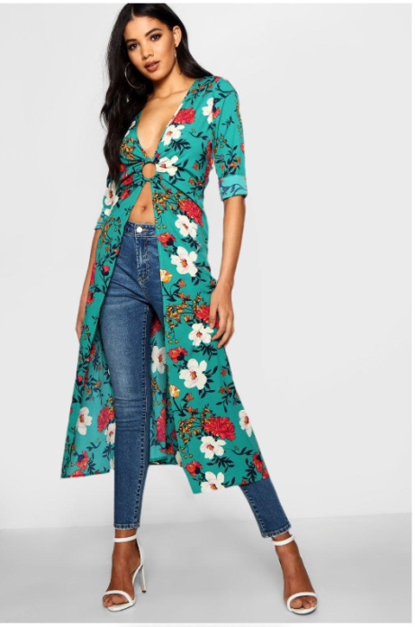 SAVE OVER 35% on this Floral Ring Detail Kimono Top!
