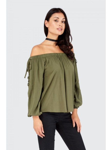 SAVE 1/3 on this Lattice Viscose Long Sleeve Bardot Blouse!