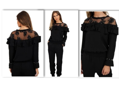 FREE DEL ON ORDERS OVER £20 BEADS RUFFLES MESH LOUNGEWEAR SET
