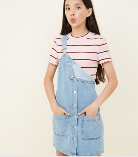 SAVE over 50% OFF Teens Pale Blue Button Front Denim Pinafore Dress!