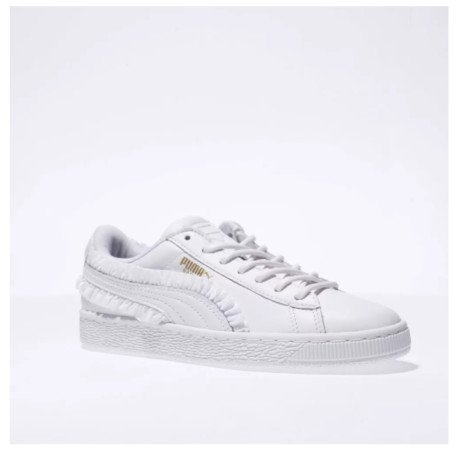 SAVE 57% - puma white basket classic frill trainers