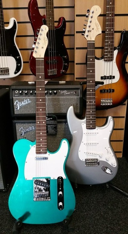 Here's a couple of the New Fender Squire Finishes. A Race Green Telecaster and a Slick Silver Strat