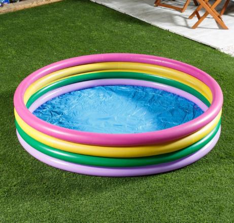 "1/3 OFF - Wild 'n Wet 75"" Ring Rainbow Paddling Pool!"