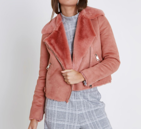 Pink faux shearling biker jacket: Save £28.00!