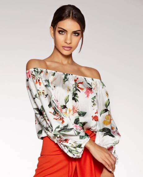 SAVE 60% on this White Satin Floral Print Bardot Bodysuit!