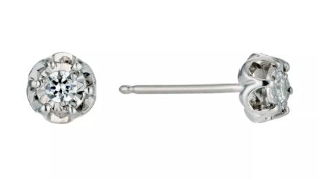 £100 OFF - 9ct White Gold Diamond Flower Stud Earrings!