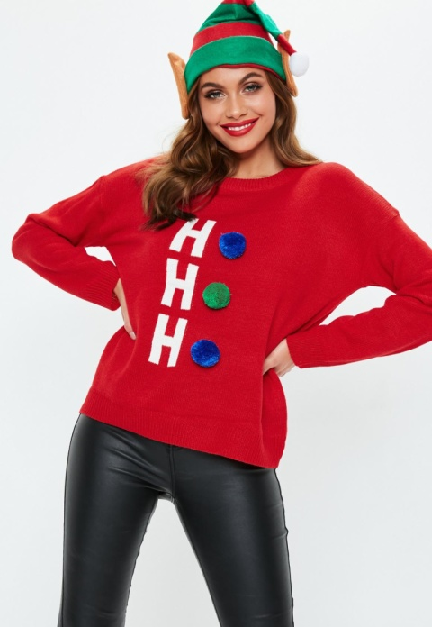 red ho ho ho pom pom knitted christmas jumper - £18.00!