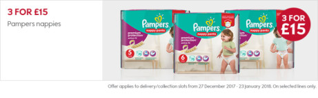 3 for £15 on Pampers Nappies