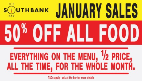 Get a whole 50% off food every day this January!