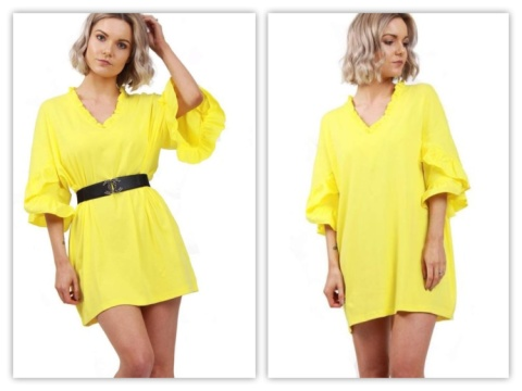 YELLOW OVERSIZED RUFFLE NECK AND SLEEVE SUMMER TOP DRESS