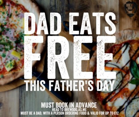 We're offering up 2-4-1 pizzas this Fathers Day!