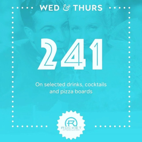 THURSDAYS - 2-4-1 on selected drinks, cocktails and pizza boards!