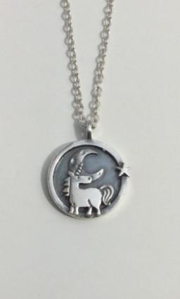 Unicorn Moon & Star Circle Pendant