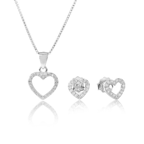30% OFF - SILVER CUBIC ZIRCONIA OPEN HEART GIFT SET!