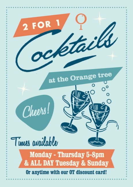 A Very Happy Hour at The Orange Tree: from 5-8pm!