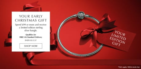 Your early Christmas Gift - Spend £99 or more and receieve a Limited Edition Silver Bangle!