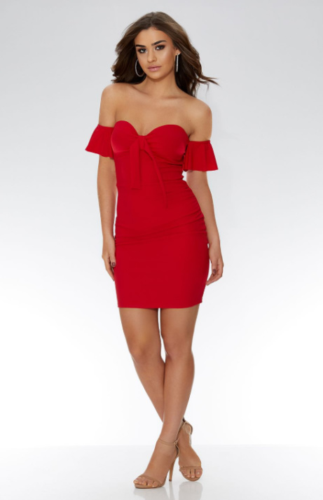 SAVE 35% on this Red Crepe Bardot Tie Front Ruched Bodycon Dress!