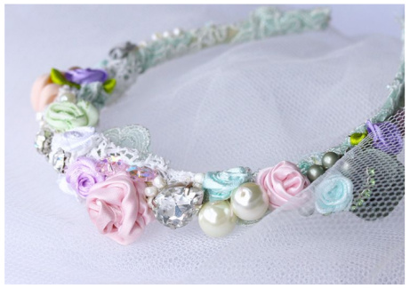 Shop the Bridal Jewellery and Accessories - Pastel Flower Headband £32.00