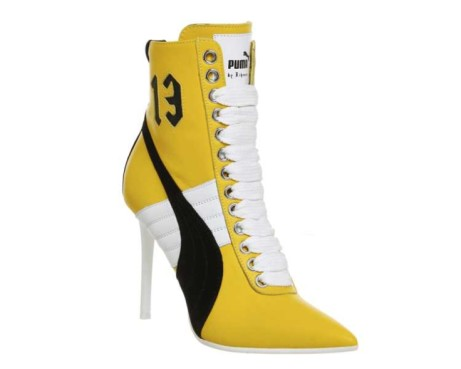 SAVE £250 on these FENTY Puma High Heel Sneakers Yellow Leather!
