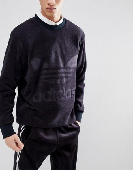 1/2 PRICE - adidas Originals adicolor Velour Sweatshirt In Oversized Fit In Black!