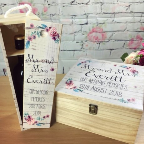Personalised Printed Wedding Box and FREE Wine Box set - SAVE 11%