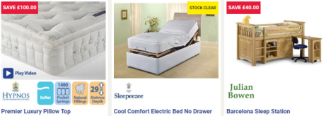 SALE SECTION - SAVE UP TO £100 on Bed Frames, Mattresses and Bedroom Furniture!