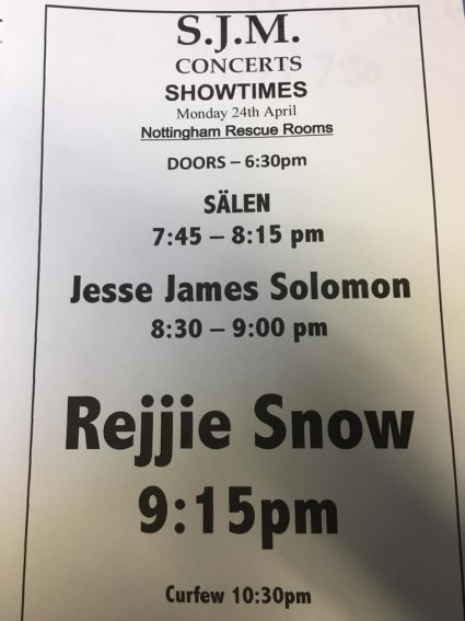 Tonight's set times for Rejjie Snow! Tickets available on the door!