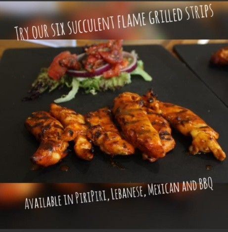 Try our flame grilled strips, marinated for 24 hours and grilled to order, available today!