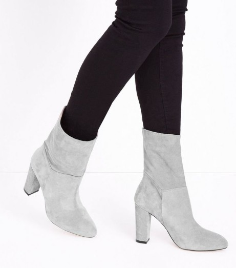 Grey Premium Suede Calf Slouch Boots - ONLY £30!