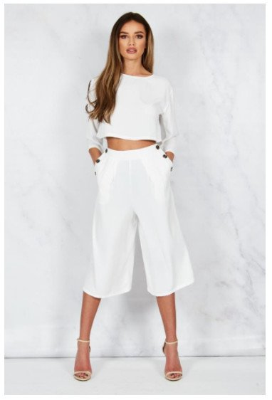 SALE - H!RN WHITE CULOTTES CO-ORD SET - Now £20.00!