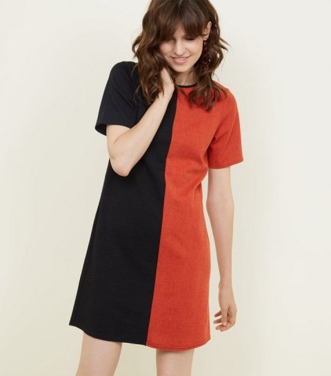 Save £14.99 - Black and Red Contrast Cross Hatch Tunic Dress